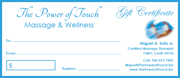 Long Beach Massage Therapy Gift Certificate